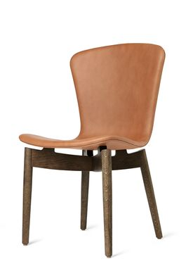 Mater - Stol - Shell Dining Chair - Sirka Grey Oak / Ultra Brandy Leather Upholster