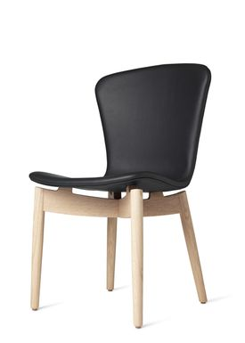 Mater - Stol - Shell Dining Chair - Mat Lacquered Oak / Ultra Black Leather Upholster