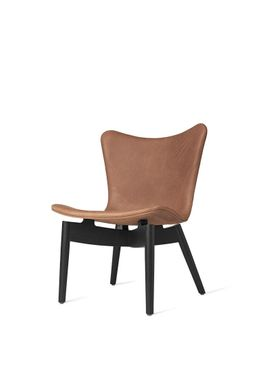 Mater - Chair - Shell lounge Chair - Dunes Rust Leather Upholster Base. Black Oak