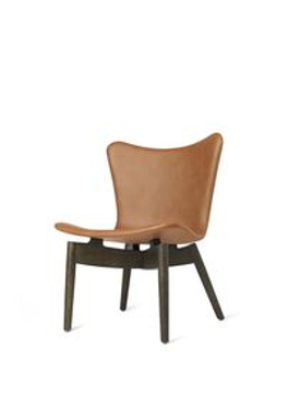 Mater - Chair - Shell lounge Chair - Ultra Brandy Leather Upholster Base: Sirka Grey Oak