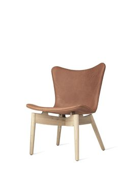 Mater - Stol - Shell lounge Chair - Dunes Rust Leather Upholster Base. Mat Lacqured Oak