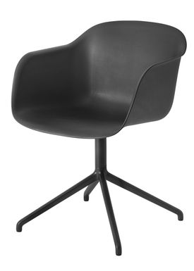 Muuto - Chair - Fiber Chair - Swivel Base - Black/Black