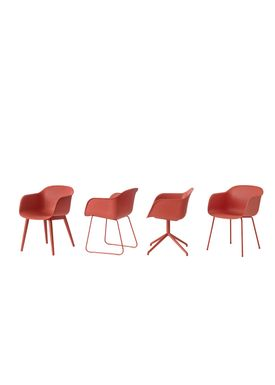 Muuto - Chair - Fiber Chair - Wood Base - Dusty Red/Red Base
