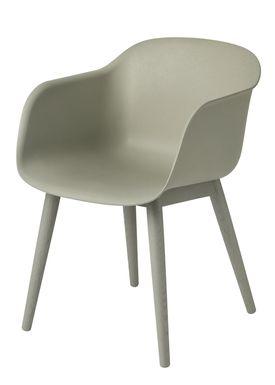 Muuto - Chair - Fiber Chair - Wood Base - Dusty Green/Green Base