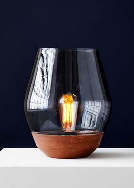 New Works - Tabel lamp - Bowl - Raw Copper w. Light Smoked Glass
