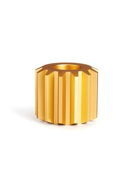 New Works - Candlestick - Gear Candle Holder - Gold, Wide
