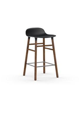 Normann Copenhagen - Stol - Form Barstool - 65 cm - Sort/Valnød
