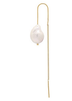 Plissé Copenhagen - Earrings - Baroque Pearl Chain Earring - Gold/Freshwater Pearl