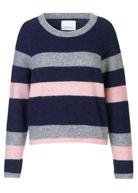 Samsøe & Samsøe - Knit - Nor O-neck Multi Stripe - Dark Blue Multi