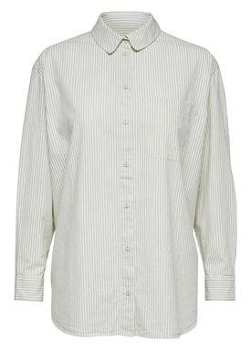Selected Femme - Skjorta - Olivia 7/8 Oversize Shirt - Birch w. Blue Stripes