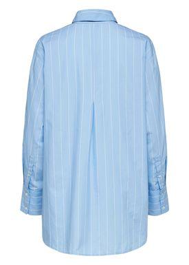 Selected Femme - Shirt - Asta LS Oversized Shirt - Light Blue Stripes