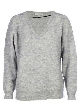 Selected Femme - Strik - Livana Knit V-neck - Light Grey Melange