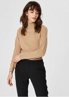 Selected Femme - Knit - Aya Cashmere LS Rollneck - Camel