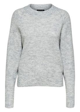 Selected Femme - Knit - Ena O-neck Knit - Light Grey Melange