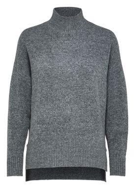 Selected Femme - Knit - Lara LS Highneck Knit - Medium Grey Melange