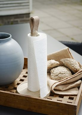 Skagerak - Paper Towel Holder - Norr Paper Towel Holder - Oak / Leather