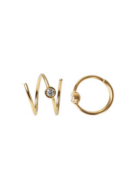 Stine A - Earrings - Big Dot Curl Earring - Gold
