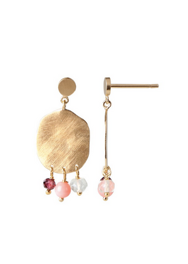 Stine A - Earrings - Hammered Coin and Gemstone Earring - Gold/Pink Gemstones