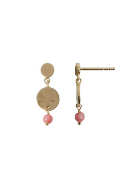 Stine A - Earrings - Petit Hammered Coin and Stone - Gold/Pink Coral