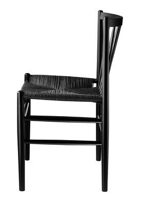 FDB Møbler / Furniture - Chair - J80 by Jørgen Bækmark - Black Beech/Black Wicker