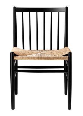 FDB Møbler / Furniture - Chair - J80 by Jørgen Bækmark - Black Beech/Nature Wicker