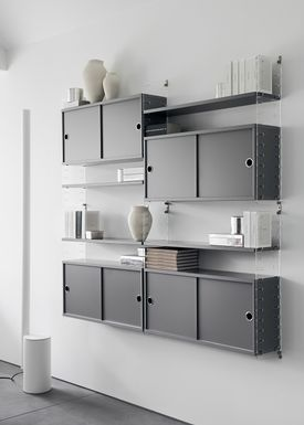 String - Skab - Cabinet w/ Sliding Doors - Small - Grey