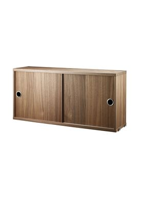 String - Skab - Cabinet w/ Sliding Doors - Small - Walnut