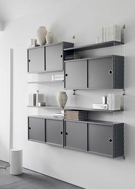 String - Skab - Cabinet w/ Sliding Doors - Large - Grey