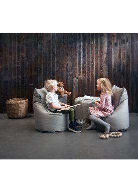 X-POUF - Bean Bag - X Kids Chair PU Coated - Dark Grey