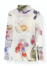 Ganni - Blouse - Printed Mesh Rollerneck T2237 - Bright White